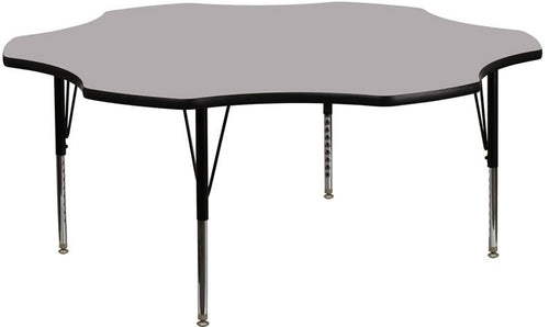 60'' Flower Grey Thermal Laminate Activity Table - Height Adjustable Short Legs [XU-A60-FLR-GY-T-P-GG]