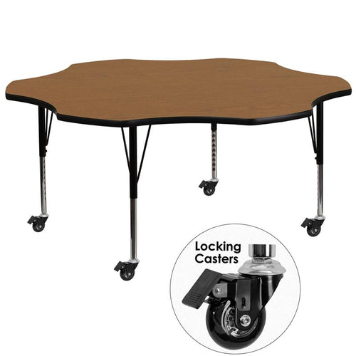 Mobile 60'' Flower Oak Thermal Laminate Activity Table - Height Adjustable Short Legs [XU-A60-FLR-OAK-T-P-CAS-GG]