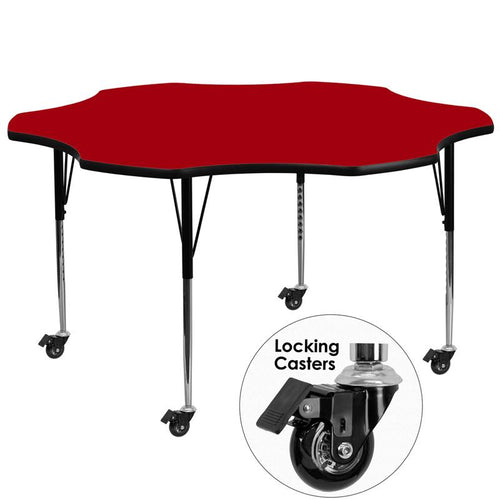 Mobile 60'' Flower Red Thermal Laminate Activity Table - Standard Height Adjustable Legs [XU-A60-FLR-RED-T-A-CAS-GG]