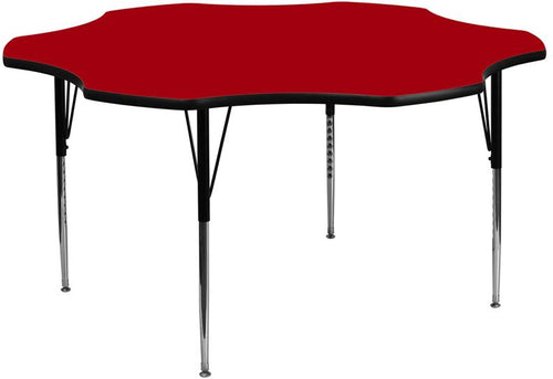 60'' Flower Red Thermal Laminate Activity Table - Standard Height Adjustable Legs [XU-A60-FLR-RED-T-A-GG]