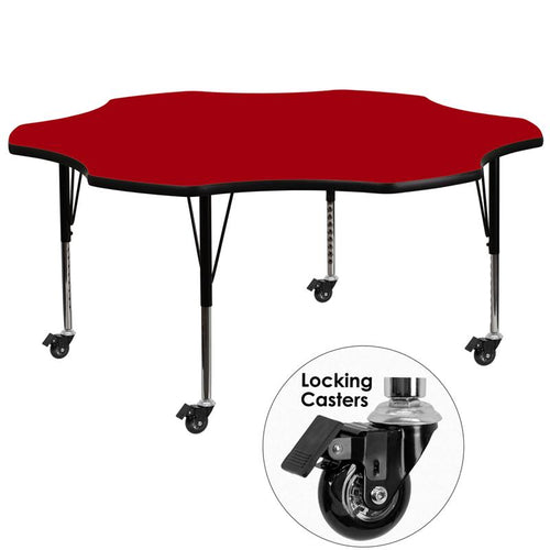 Mobile 60'' Flower Red Thermal Laminate Activity Table - Height Adjustable Short Legs [XU-A60-FLR-RED-T-P-CAS-GG]