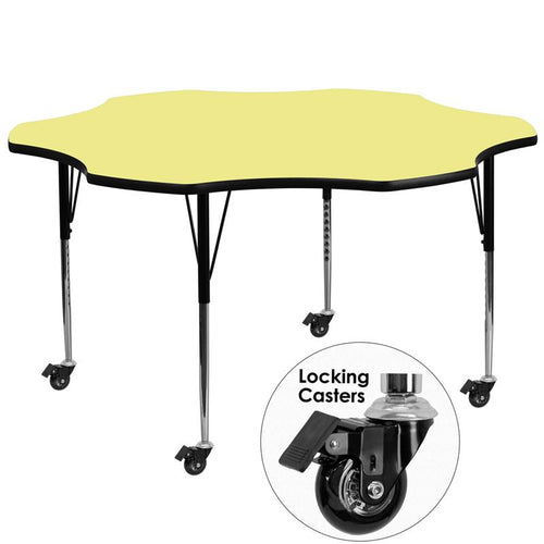 Mobile 60'' Flower Yellow Thermal Laminate Activity Table - Standard Height Adjustable Legs [XU-A60-FLR-YEL-T-A-CAS-GG]