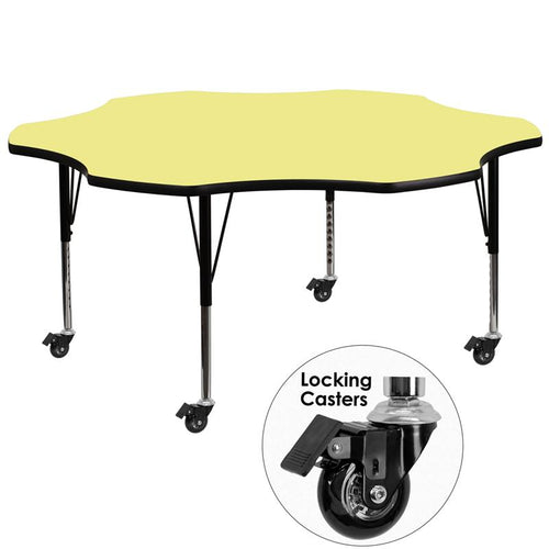 Mobile 60'' Flower Yellow Thermal Laminate Activity Table - Height Adjustable Short Legs [XU-A60-FLR-YEL-T-P-CAS-GG]