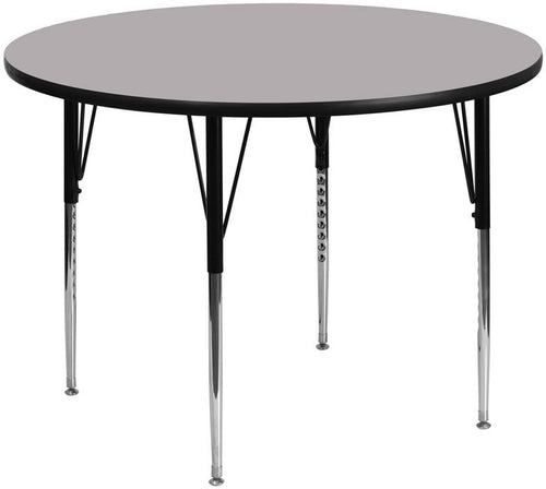60'' Round Grey Thermal Laminate Activity Table - Standard Height Adjustable Legs [XU-A60-RND-GY-T-A-GG]