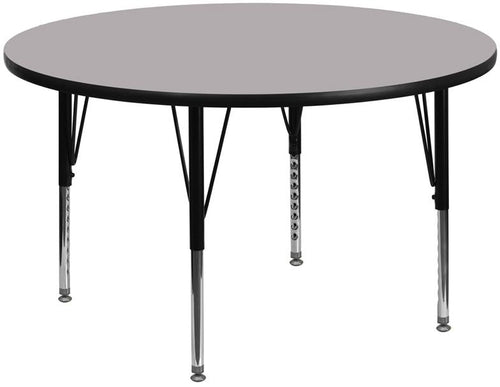 60'' Round Grey Thermal Laminate Activity Table - Height Adjustable Short Legs [XU-A60-RND-GY-T-P-GG]