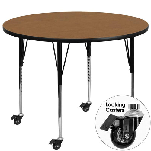 Mobile 60'' Round Oak Thermal Laminate Activity Table - Standard Height Adjustable Legs [XU-A60-RND-OAK-T-A-CAS-GG]