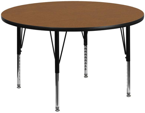 60'' Round Oak Thermal Laminate Activity Table - Height Adjustable Short Legs [XU-A60-RND-OAK-T-P-GG]