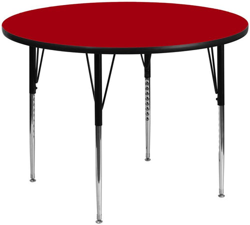 60'' Round Red Thermal Laminate Activity Table - Standard Height Adjustable Legs [XU-A60-RND-RED-T-A-GG]