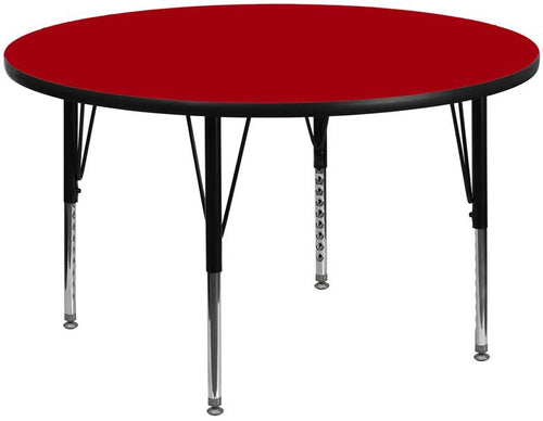 60'' Round Red Thermal Laminate Activity Table - Height Adjustable Short Legs [XU-A60-RND-RED-T-P-GG]