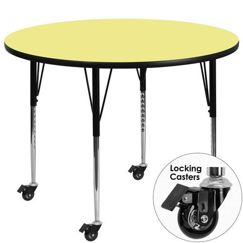 Mobile 60'' Round Yellow Thermal Laminate Activity Table - Standard Height Adjustable Legs [XU-A60-RND-YEL-T-A-CAS-GG]