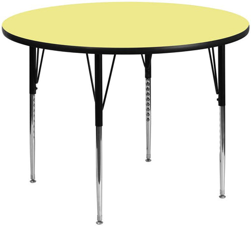 60'' Round Yellow Thermal Laminate Activity Table - Standard Height Adjustable Legs [XU-A60-RND-YEL-T-A-GG]