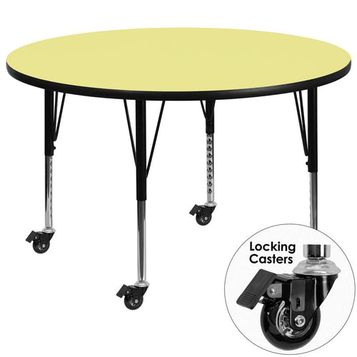 Mobile 60'' Round Yellow Thermal Laminate Activity Table - Height Adjustable Short Legs [XU-A60-RND-YEL-T-P-CAS-GG]