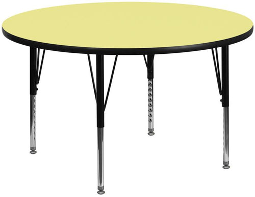 60'' Round Yellow Thermal Laminate Activity Table - Height Adjustable Short Legs [XU-A60-RND-YEL-T-P-GG]