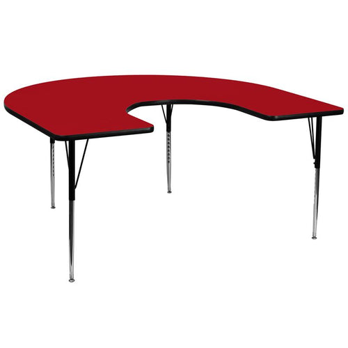 60''W x 66''L Horseshoe Red Thermal Laminate Activity Table - Standard Height Adjustable Legs [XU-A6066-HRSE-RED-T-A-GG]