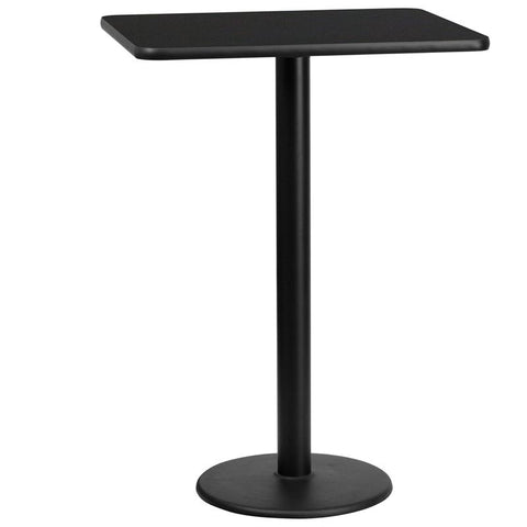 24'' x 30'' Rectangular Black Laminate Table Top with 18'' Round Bar Height Table Base [XU-BLKTB-2430-TR18B-GG]