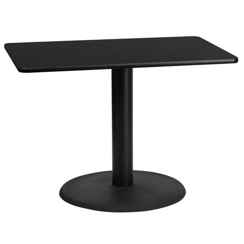 24'' x 42'' Rectangular Black Laminate Table Top with 24'' Round Table Height Base [XU-BLKTB-2442-TR24-GG]