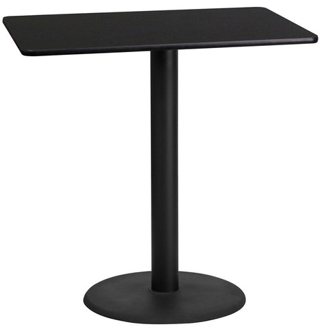 24'' x 42'' Rectangular Black Laminate Table Top with 24'' Round Bar Height Table Base [XU-BLKTB-2442-TR24B-GG]