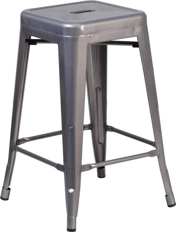 24'' High Backless Clear Coated Metal Indoor Counter Height Stool with Square Seat [XU-DG-TP0004-24-GG]