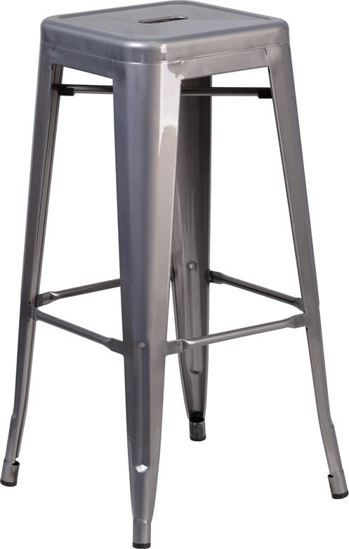 30'' High Backless Clear Coated Metal Indoor Barstool with Square Seat [XU-DG-TP0004-30-GG]