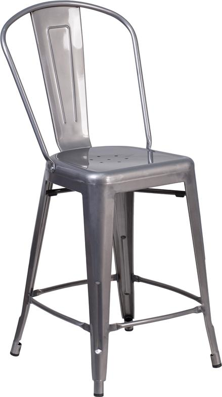 24'' High Clear Coated Indoor Counter Height Stool with Back [XU-DG-TP001B-24-GG]
