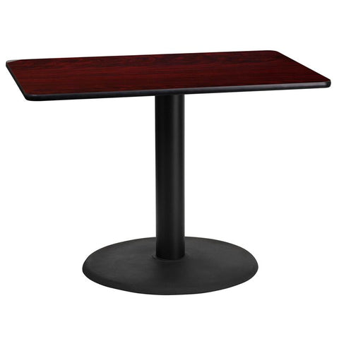 24'' x 42'' Rectangular Mahogany Laminate Table Top with 24'' Round Table Height Base [XU-MAHTB-2442-TR24-GG]