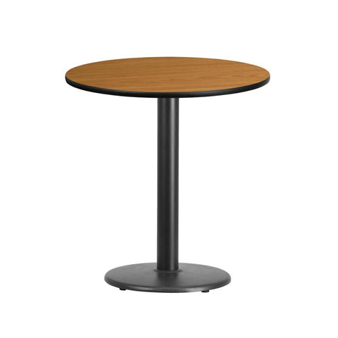 24'' Round Natural Laminate Table Top with 18'' Round Table Height Base [XU-RD-24-NATTB-TR18-GG]
