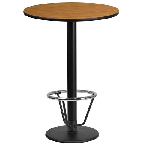 24'' Round Natural Laminate Table Top with 18'' Round Bar Height Table Base and Foot Ring [XU-RD-24-NATTB-TR18B-3CFR-GG]