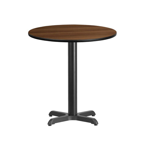 24'' Round Walnut Laminate Table Top with 22'' x 22'' Table Height Base [XU-RD-24-WALTB-T2222-GG]