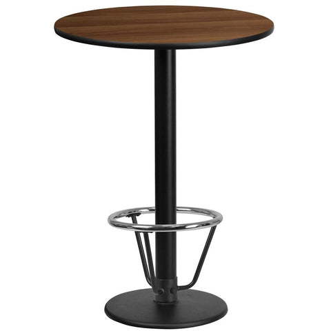 24'' Round Walnut Laminate Table Top with 18'' Round Bar Height Table Base and Foot Ring [XU-RD-24-WALTB-TR18B-3CFR-GG]