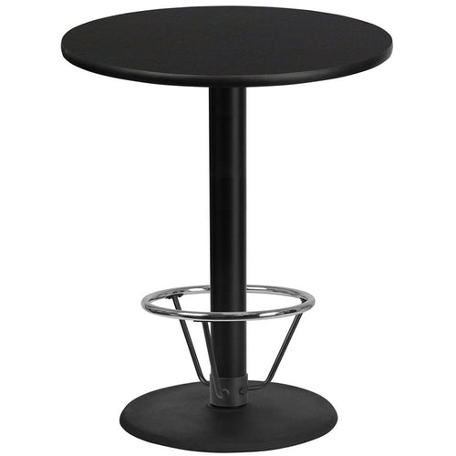 36'' Round Black Laminate Table Top with 24'' Round Bar Height Table Base and Foot Ring [XU-RD-36-BLKTB-TR24B-4CFR-GG]