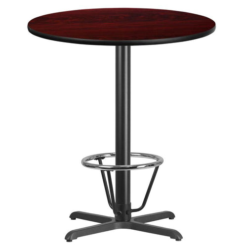 36'' Round Mahogany Laminate Table Top with 30'' x 30'' Bar Height Table Base and Foot Ring [XU-RD-36-MAHTB-T3030B-3CFR-GG]