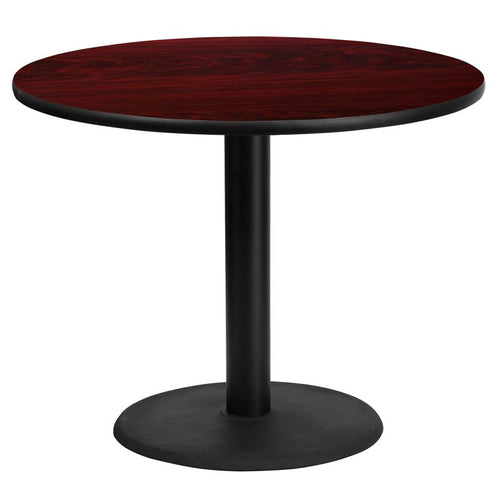 36'' Round Mahogany Laminate Table Top with 24'' Round Table Height Base [XU-RD-36-MAHTB-TR24-GG]