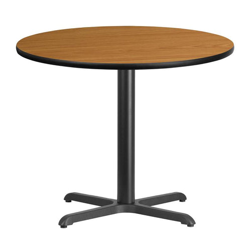 36'' Round Natural Laminate Table Top with 30'' x 30'' Table Height Base [XU-RD-36-NATTB-T3030-GG]