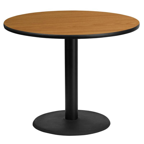 36'' Round Natural Laminate Table Top with 24'' Round Table Height Base [XU-RD-36-NATTB-TR24-GG]