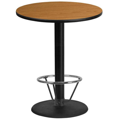 36'' Round Natural Laminate Table Top with 24'' Round Bar Height Table Base and Foot Ring [XU-RD-36-NATTB-TR24B-4CFR-GG]