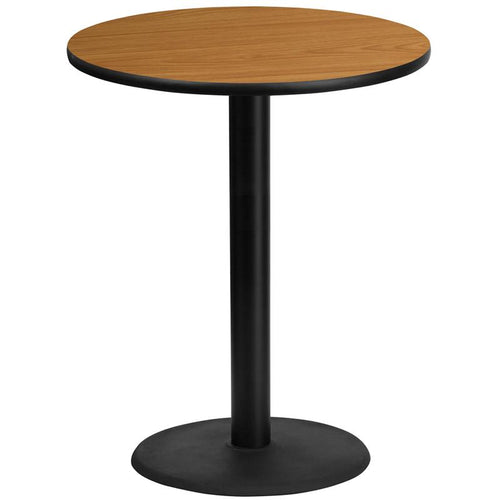 36'' Round Natural Laminate Table Top with 24'' Round Bar Height Table Base [XU-RD-36-NATTB-TR24B-GG]