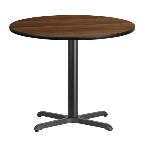 36'' Round Walnut Laminate Table Top with 30'' x 30'' Table Height Base [XU-RD-36-WALTB-T3030-GG]