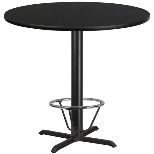 42'' Round Black Laminate Table Top with 33'' x 33'' Bar Height Table Base and Foot Ring [XU-RD-42-BLKTB-T3333B-4CFR-GG]
