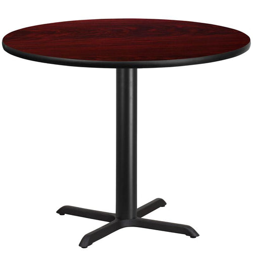 42'' Round Mahogany Laminate Table Top with 33'' x 33'' Table Height Base [XU-RD-42-MAHTB-T3333-GG]