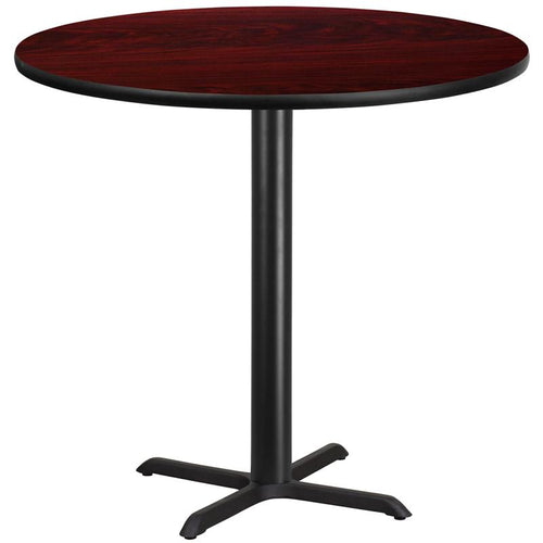 42'' Round Mahogany Laminate Table Top with 33'' x 33'' Bar Height Table Base [XU-RD-42-MAHTB-T3333B-GG]
