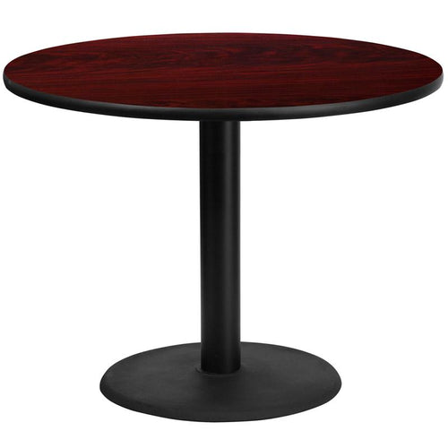 42'' Round Mahogany Laminate Table Top with 24'' Round Table Height Base [XU-RD-42-MAHTB-TR24-GG]