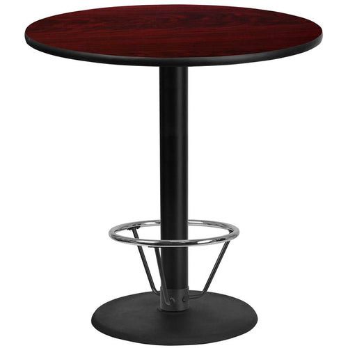 42'' Round Mahogany Laminate Table Top with 24'' Round Bar Height Table Base and Foot Ring [XU-RD-42-MAHTB-TR24B-4CFR-GG]