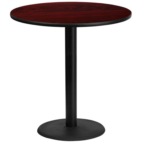 42'' Round Mahogany Laminate Table Top with 24'' Round Bar Height Table Base [XU-RD-42-MAHTB-TR24B-GG]
