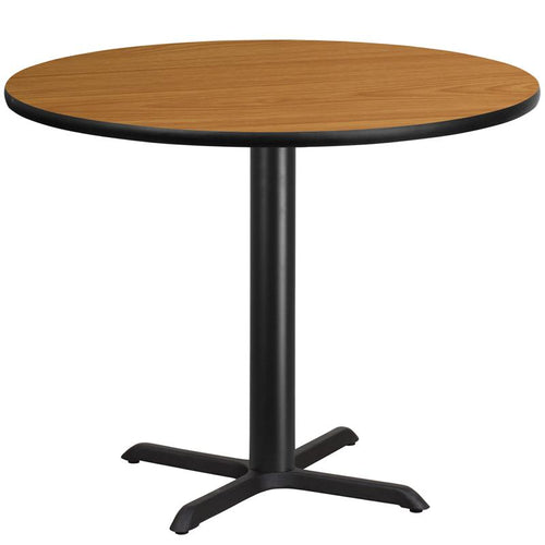 42'' Round Natural Laminate Table Top with 33'' x 33'' Table Height Base [XU-RD-42-NATTB-T3333-GG]