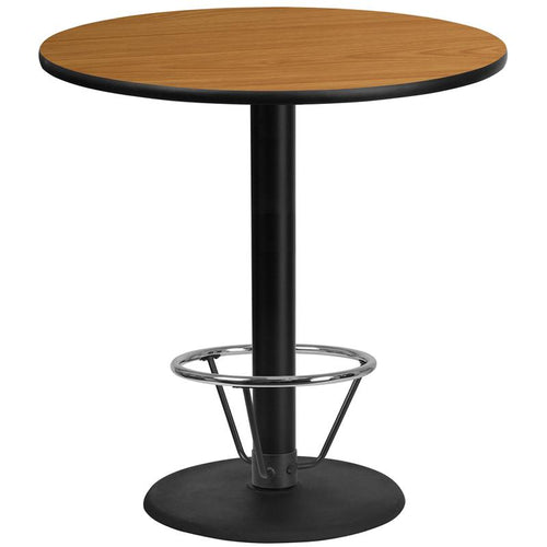 42'' Round Natural Laminate Table Top with 24'' Round Bar Height Table Base and Foot Ring [XU-RD-42-NATTB-TR24B-4CFR-GG]