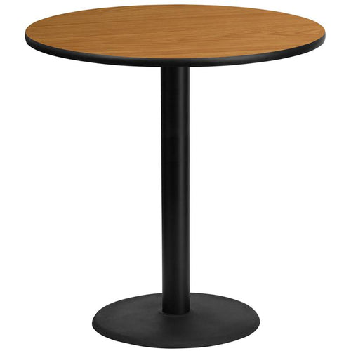 42'' Round Natural Laminate Table Top with 24'' Round Bar Height Table Base [XU-RD-42-NATTB-TR24B-GG]