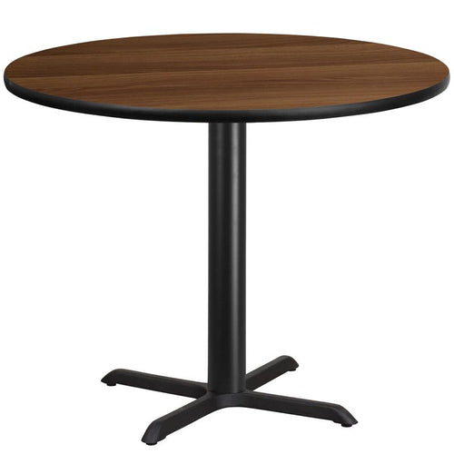 42'' Round Walnut Laminate Table Top with 33'' x 33'' Table Height Base [XU-RD-42-WALTB-T3333-GG]