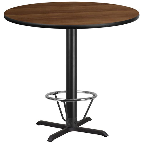 42'' Round Walnut Laminate Table Top with 33'' x 33'' Bar Height Table Base and Foot Ring [XU-RD-42-WALTB-T3333B-4CFR-GG]
