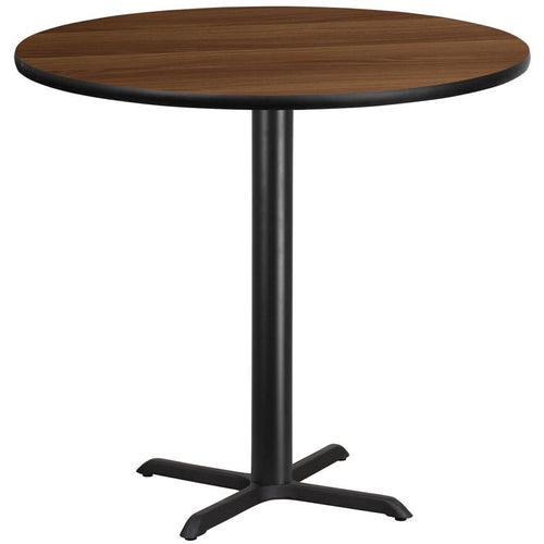 42'' Round Walnut Laminate Table Top with 33'' x 33'' Bar Height Table Base [XU-RD-42-WALTB-T3333B-GG]