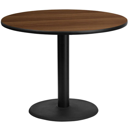 42'' Round Walnut Laminate Table Top with 24'' Round Table Height Base [XU-RD-42-WALTB-TR24-GG]